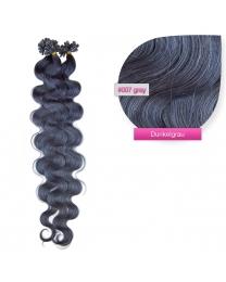 Bondings Keratin Echthaar Extensions #007 dark gray gewellt 1g
