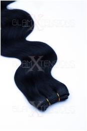 Echthaar Tressen - Weft Extensions gewellt 50 / 60 cm #01 Schwarz