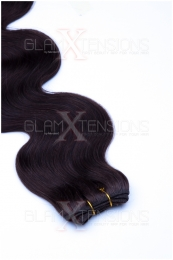 Dieses Bild zeigt die GlamXtensions Weft Extensions Haarverlängerung in der Farbe #02 Dunkelbraun in Großansicht. Die echthaar Tressen Extensions sind in vielen verschiedenen Farben erhältlich.