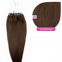 Dieses Bild zeigt die GlamXtensions Microring Extensions Haarverlängerung in der Farbe #01 Schwarz in Großansicht. Die echthaar Extensions Bondings haben ein Gewicht von 0,5 oder 1 Gramm