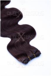 Dieses Bild zeigt die GlamXtensions Weft Extensions Haarverlängerung in der Farbe #04 Schokobraun in Großansicht. Die echthaar Tressen Extensions sind in vielen verschiedenen Farben erhältlich.