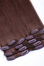 Dieses Bild zeigt die 7-teilige GlamXtensions Clip In Extensions Haarverlängerung mit 16 Clips in der Farbe #06 Mittelbraun in Großansicht