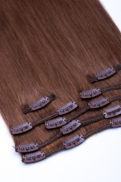 Clip In Extensions Echthaar 7-teilig 100g #08 - Goldbraun