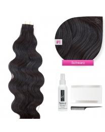 Tape In Echthaar Extensions Frontbild in der Farbe #01 Schwarz gewellt in den Haarlängen 50cm oder 60cm verfügbar, Haarverlängerung tapes mit Zubehör Bürste Remover und Klebestreifen