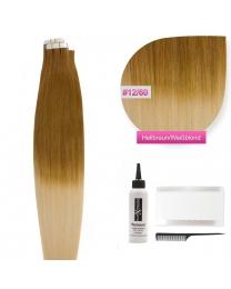 Tape In Extensions Echthaar Haarverlängerung # O-12/60 Hellbraun - Weißblond ombre