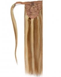 Pferdeschwanz Echthaar Ponytail Haarteil Extensions 12/613 - Hellbraun/Helllichtblond gesträhnt