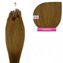 Dieses Bild zeigt die GlamXtensions Microring Extensions Haarverlängerung in der Farbe #12 Hellbraun in Großansicht. Die echthaar Extensions Bondings haben ein Gewicht von 0,5 Gramm