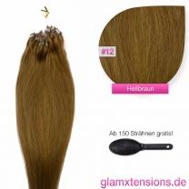 Dieses Bild zeigt die GlamXtensions Microring Extensions Haarverlängerung in der Farbe #12 Hellbraun in Großansicht. Die echthaar Extensions Bondings haben ein Gewicht von 1 Gramm