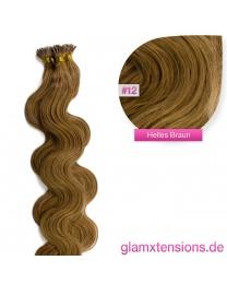 Microring I-Tip Extensions 100% Echthaar 1g #12 Hellbraun Haarverlängerung gewellt