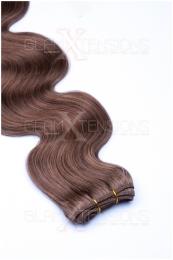 Dieses Bild zeigt die GlamXtensions Weft Extensions Haarverlängerung in der Farbe #12 Hellbraun in Großansicht. Die echthaar Tressen Extensions sind in vielen verschiedenen Farben erhältlich.