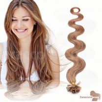 Bondings Keratin Echthaar Extensions #14 Hazelblond gewellt 1g