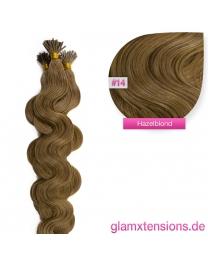 Microring I-Tip Extensions 100% Echthaar 1g #14 Hazelblond Haarverlängerung gewellt