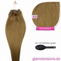 Dieses Bild zeigt die GlamXtensions Microring Extensions Haarverlängerung in der Farbe #18 Dunkelblond in Großansicht. Die echthaar Extensions Bondings haben ein Gewicht von 1 Gramm