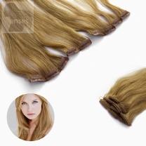 Dieses Bild zeigt die 5-teilige GlamXtensions Clip In Extensions Haarverlängerung mit 9 Clips in der Farbe #18  Dunkelblond  in Großansicht.