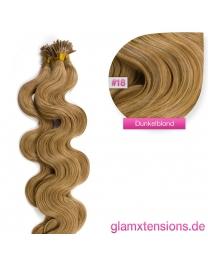 Microring I-Tip Extensions 100% Echthaar 1g #18 Dunkelblond Haarverlängerung gewellt