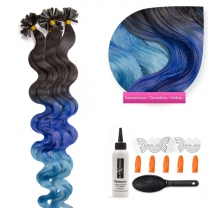 Bondings Keratin Echthaar Extensions #ombre 1b/dark blue /light blue gewellt 1g