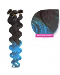 Bondings Keratin Echthaar Extensions #ombre 1b/hellblau gewellt 1g
