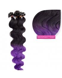 Bondings Keratin Echthaar Extensions #ombre 1b/purple gewellt 1g
