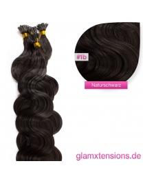 Microring I-Tip Extensions 100% Echthaar 1g #1b Naturschwarz Haarverlängerung gewellt