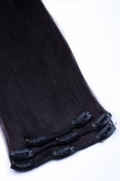 Dieses Bild zeigt die 3-teilige GlamXtensions Clip In Extensions Haarverlängerung mit 8 Clips in der Farbe #1b - Naturschwarz in Großansicht.