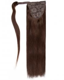 Pferdeschwanz Echthaar Ponytail Haarteil Extensions 02 - Dunkelbraun