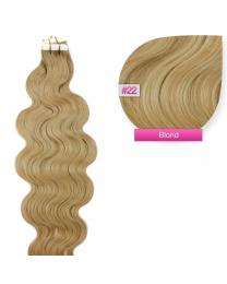 Tape In Echthaar Extensions Frontbild in der Farbe #22 Blond gewellt in den Haarlängen 50cm oder 60cm verfügbar, Haarverlängerung tapes mit Zubehör Bürste Remover und Klebestreifen