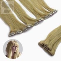 Dieses Bild zeigt die 5-teilige GlamXtensions Clip In Extensions Haarverlängerung mit 9 Clips in der Farbe #22 Hellblond in Großansicht.
