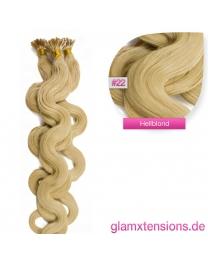 Microring I-Tip Extensions 100% Echthaar 1g #22 Hellblond Haarverlängerung gewellt