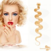 Bondings Keratin Echthaar Extensions #24 Blond gewellt 1g