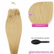 Dieses Bild zeigt die GlamXtensions Microring Extensions Haarverlängerung in der Farbe #24 Blond in Großansicht. Die echthaar Extensions Bondings haben ein Gewicht von 0,5 Gramm