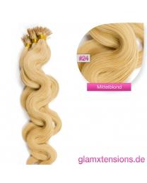 Microring I-Tip Extensions 100% Echthaar 1g #24 Blond Haarverlängerung gewellt