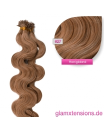 Microring I-Tip Extensions 100% Echthaar 1g #27 Honigblond Haarverlängerung gewellt