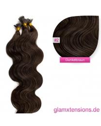 Microring I-Tip Extensions 100% Echthaar 1g #02 Dunkelbraun Haarverlängerung gewellt