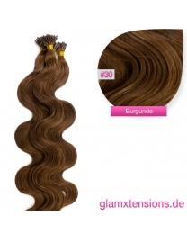 Microring I-Tip Extensions 100% Echthaar 1g #30 Rotbraun Haarverlängerung gewellt