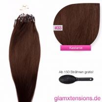 Dieses Bild zeigt die GlamXtensions Microring Extensions Haarverlängerung in der Farbe #33 Kastanie in Großansicht. Die echthaar Extensions Bondings haben ein Gewicht von 1 Gramm