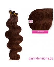 Microring I-Tip Extensions 100% Echthaar 1g #33 Kastanie Haarverlängerung gewellt