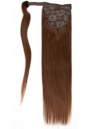 Pferdeschwanz Echthaar Ponytail Haarteil Extensions 04 - Schokobraun
