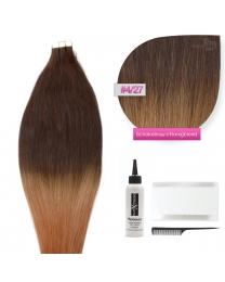 Tape In Extensions Echthaar Haarverlängerung # O-04/27 Schokobraun - Honigblond ombre