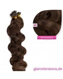 Microring I-Tip Extensions 100% Echthaar 1g #04 Schokobraun Haarverlängerung gewellt