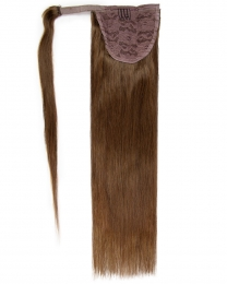 Pferdeschwanz Echthaar Ponytail Haarteil Extensions 06 - Mittelbraun