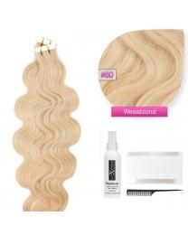 Tape In Echthaar Extensions Frontbild in der Farbe #60 Weissblond gewellt in den Haarlängen 50cm oder 60cm verfügbar, Haarverlängerung tapes mit Zubehör Bürste Remover und Klebestreifen