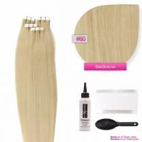 Tape In Extensions Echthaar Haarverlängerung #60 Weißblond