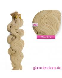 Microring I-Tip Extensions 100% Echthaar 1g #60 Weißblond Haarverlängerung gewellt