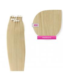 Tape In Echthaar Extensions Frontbild in der Farbe #60 Weißblond in den Haarlängen 35cm 45cm 50cm oder 60cm verfügbar,  Haarverlängerung tapes mit Zubehör Bürste Remover und Klebestreifen