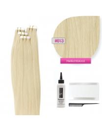 Tape In Echthaar Extensions Frontbild in der Farbe #613 Helllichtblond in den Haarlängen 35cm 45cm 50cm oder 60cm verfügbar,  Haarverlängerung tapes mit Zubehör Bürste Remover und Klebestreifen