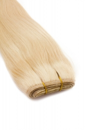 Dieses Bild zeigt die GlamXtensions Weft Extensions Haarverlängerung in der Farbe #613 Helllichtblond in Großansicht. Die echthaar Tressen Extensions sind in vielen verschiedenen Farben erhältlich.