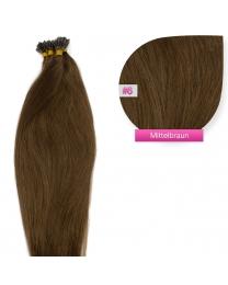 Dieses Bild zeigt die GlamXtensions Microring Extensions Haarverlängerung in der Farbe #06 Mittelbraun in Großansicht. Die echthaar Extensions Bondings haben ein Gewicht von 1 Gramm.