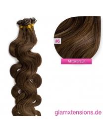 Microring I-Tip Extensions 100% Echthaar 1g #06 Mittelbraun Haarverlängerung gewellt