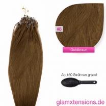 Dieses Bild zeigt die GlamXtensions Microring Extensions Haarverlängerung in der Farbe #08 Goldbraun in Großansicht. Die echthaar Extensions Bondings haben ein Gewicht von 0,5 Gramm