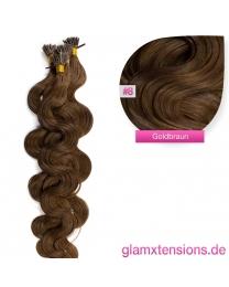 Microring I-Tip Extensions 100% Echthaar 1g #08 Goldbraun Haarverlängerung gewellt